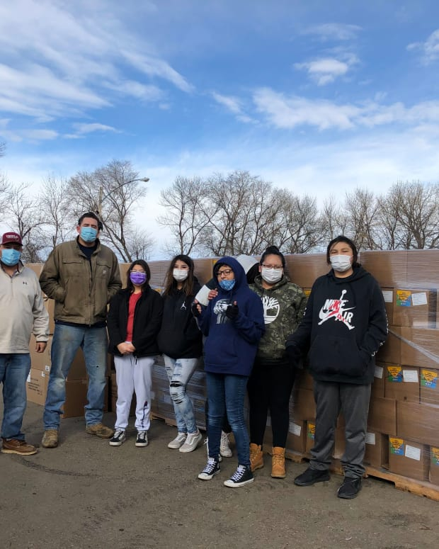 Pictured: With support from Feeding South Dakota and the USDA, CRYP staff and volunteers distributed 1,100 food boxes to the Cheyenne River Sioux Reservation community on February 23.