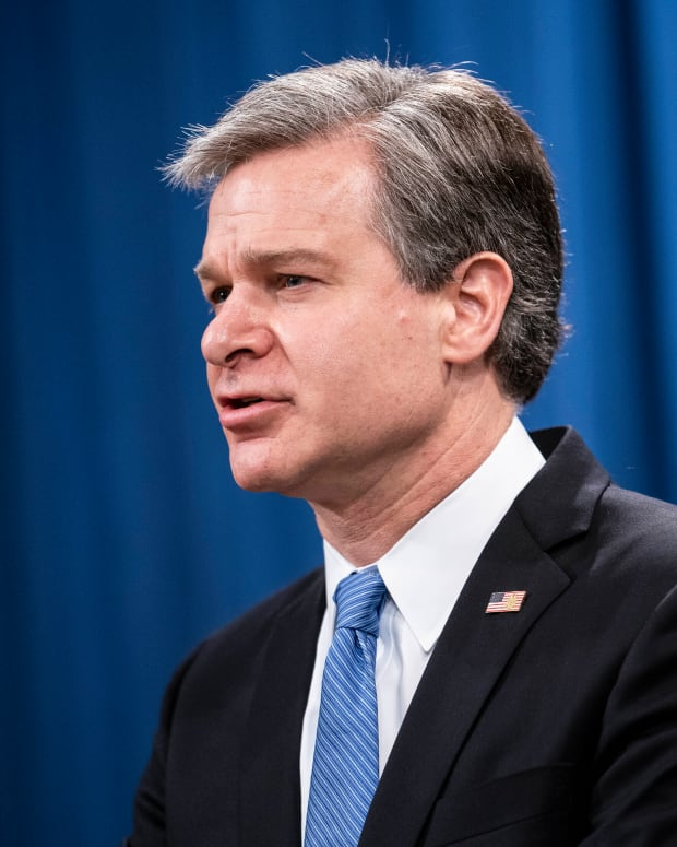 FILE - In this Oct. 28, 2020, file photo, FBI Director Christopher Wray speaks during a virtual news conference at the Department of Justice in Washington. Wray is set to testify for the first time since the deadly Jan. 6 deadly riot at the U.S. Capitol. (Sarah Silbiger/Pool via AP)