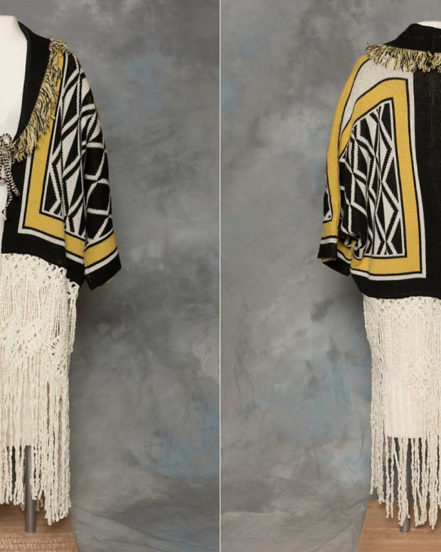 This photo provided by the Sealaska Heritage Institute in Juneau, Alaska, shows the front and back of a Tlingit Ravenstail coat. (Photo by Brian Wallace, Sealaska Heritage Institute)