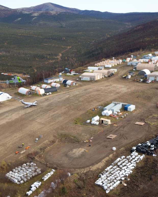 The work camp and runway for the Donlin Gold mine are seen from the air in 2014. (Photo courtesy of Donlin Gold)
