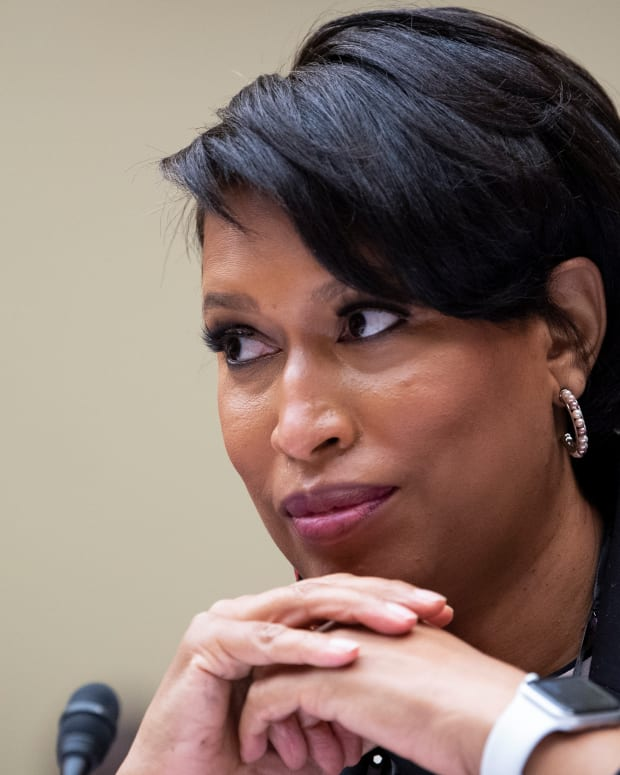 Washington, D.C., Mayor Muriel Bowser, testifies at the House Oversight and Reform Committee hearing, on D.C. statehood, Monday, March 22, 2021, on Capitol Hill in Washington. (Caroline Brehman/Pool via CQ Roll Call)