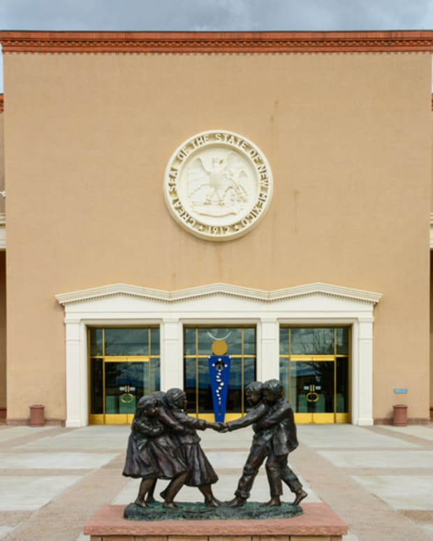 "Pictured: The New Mexico State Capitol in Santa Fe, known informally as ""The Roundhouse""."