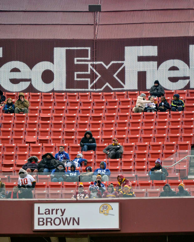 """Dec. 9, 2018, file photo, FedEx Field is less than full during the second half of an NFL football game between the Washington Redskins and the New York Giants in Landover, Md. The title sponsor of the Redskins' stadium wants them to change their name. FedEx said in a statement Thursday, July 2, 2020, """"We have communicated to the team in Washington our request that they change the team name."""" (AP Photo/Mark Tenally, File)"""