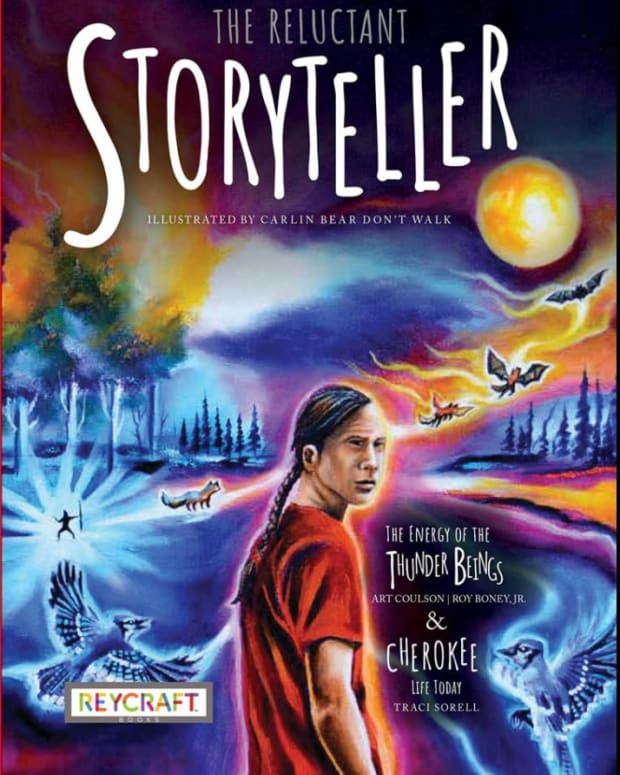 """Cherokee author Art Coulson is winning acclaim for his children's book, """"The Reluctant Storyteller,"""" about an Indigenous youth who resists his family tradition of storytelling. The book, published in late 2020, was illustrated by Carlin Bear Don't Walk, Northern Cheyenne and Crow. (Photo courtesy of Reycraft Books)"""