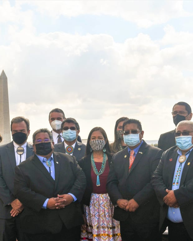 """""""Honored to host Tribal leaders who have dedicated themselves to protecting Bears Ears,"""" according to Interior Secretary Deb Haaland's Twitter. (Photo via Twitter)"""