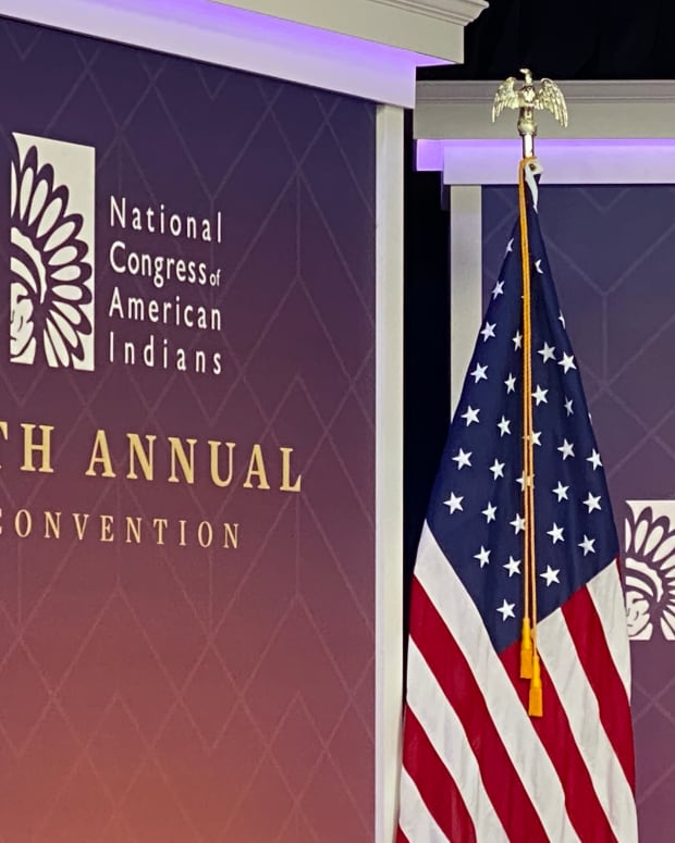Vice President Kamala Harris gives remarks at the 78th Annual National Congress of American Indians convention from the south court auditorium in Washington, DC, on October 12, 2021. (Photo by Jourdan Bennett-Begaye, Indian Country Today)