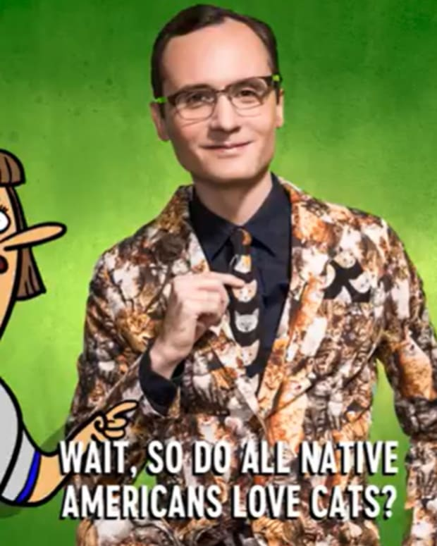 Cowlitz comedian Joey Clift in a collaborative video with Comedy Central addresses Native mascots (screen capture)