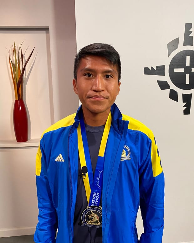 Kyle Sumatzkuku, Hopi, was the first Native person to cross the line at the 125th Boston Marathon. He placed 48th overall with a time of 2 hours, 26 minutes and 17 seconds. (Photo by Aliyah Chavez)