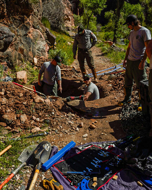 A water utilities crew works to repair a broken section of the Transcanyon Pipeline in Grand Canyon National Park in early 2020. Grand Canyon projects will get more than $60 million for repairs in the first two years of the Great American Outdoors Act. (Photo by E.Foss/National Park Service)