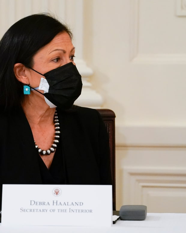 Interior Secretary Deb Haaland attends a Cabinet meeting with President Joe Biden in the East Room of the White House, Thursday, April 1, 2021, in Washington. (AP Photo/Evan Vucci)