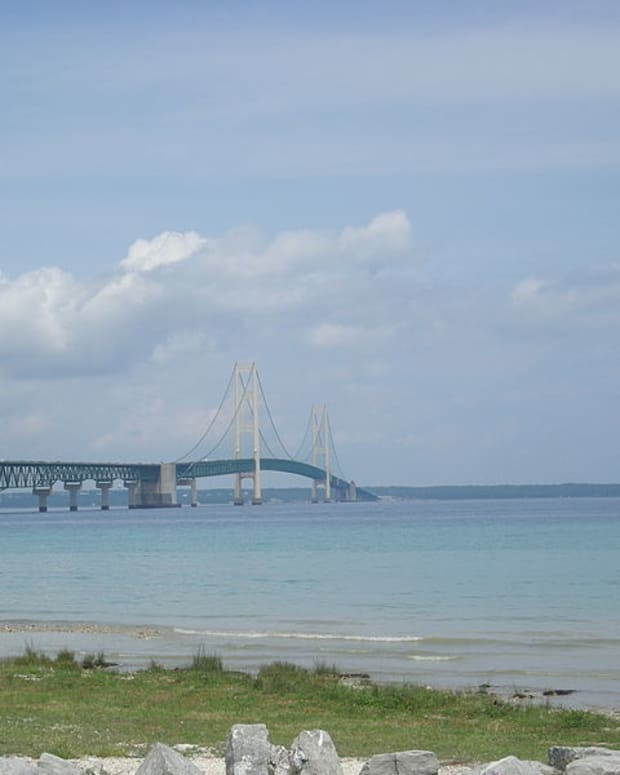A view of the Mackinac Bridge and the Straits of Mackinac as seen from Mackinaw City, Michigan. Enbridge's Line 5 passes under the environmentally sensitive Straits of Mackinac, which connect Lake Michigan to Lake Huron.