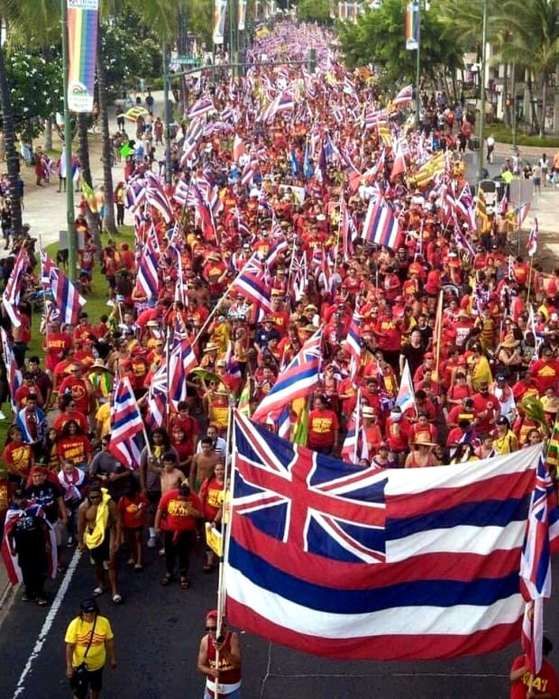 Honolulu march against TMT - July 21, 2019 - photo credit Laulani Teale