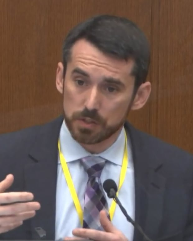 In this image from video, Seth Stoughton, testifies as Hennepin County Judge Peter Cahill presides over court Monday, April 12, 2021, in the trial of former Minneapolis police Officer Derek Chauvin, in the May 25, 2020, death of George Floyd at the Hennepin County Courthouse in Minneapolis, Minn. (Court TV via AP, Pool)