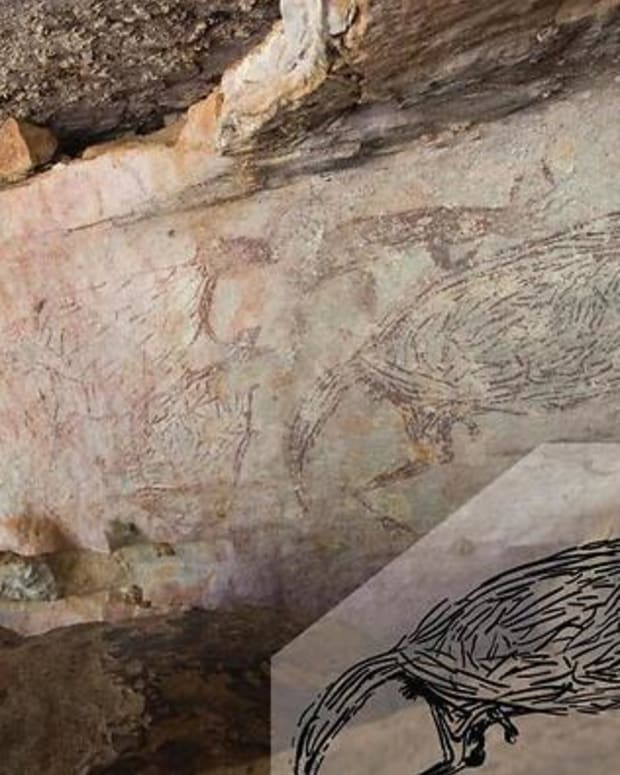 A two-metre-long painting of a kangaroo spans the sloping ceiling of a rock shelter above the Drysdale River, Feb. 23, 2021. (Photo by Peter Veth via National Indigenous Television, NITV)