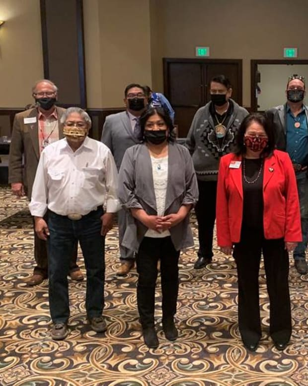 Pictured: Back L to R: Delano Saluskin, Yakama Nation; Shannon Wheeler, Nez Perce Tribe; Rodney Cawston Confederated Tribes of the Colville Reservation; Devon Boyer, Shoshone-Bannock Tribe; Hemene James, Coeur d'Alene Tribe; Brian Thomas, Shoshone Paiute Tribe. Front L to R: Raymond Tsumpti, Confederated Tribes of Warm Springs; Jody Richards, Burns Paiute Tribe; Kat Brigham, Confederate Tribes of the Umatilla Reservation; Carol Evans, Spokane Tribe; Shelly Fyant, Confederated Salish and Kootenai Tribes.