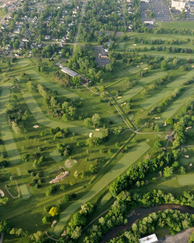 An aerial view of the Newark Octagon Earthworks in Ohio shows the vast scope of the ancient Indigenous mounds in 2013. (Photo courtesy of Timothy E. Black, Newark Earthworks Center) ONE TIME USE ONLY