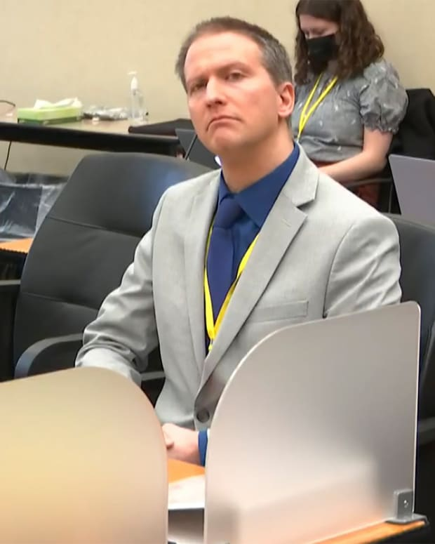In this image from video, former Minneapolis police Officer Derek Chauvin listens as his defense attorney Eric Nelson gives closing arguments as Hennepin County Judge Peter Cahill preside Monday, April 19, 2021, in the trial of Chauvin at the Hennepin County Courthouse in Minneapolis. Chauvin is charged in the May 25, 2020 death of George Floyd. (Court TV via AP, Pool)