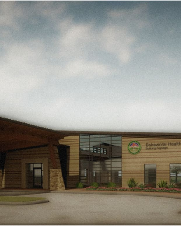 Pictured: Architectural rendering of the planned 6,000 square-foot Muscogee (Creek) Nation behavioral health clinic in Okmulgee.