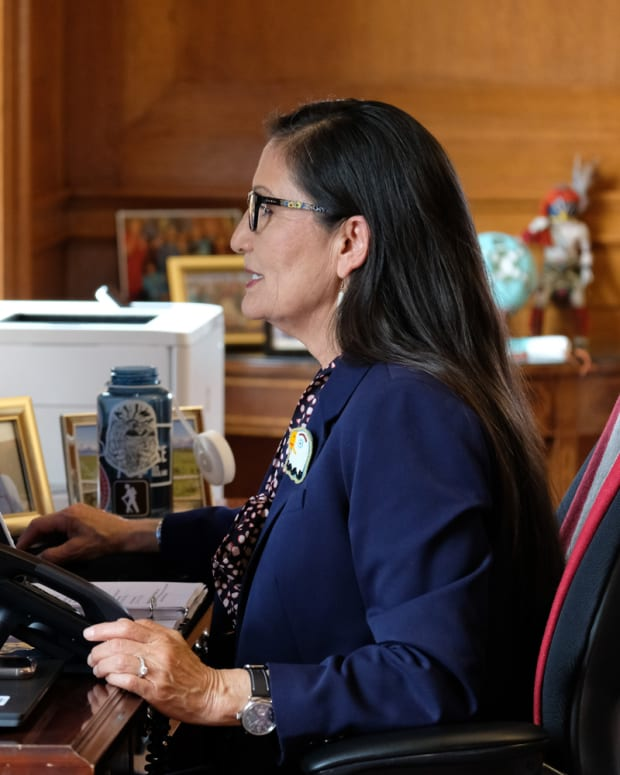 """Interior Secretary Deb Haaland, Laguna Pueblo, on a virtual meeting March 25, 2021. """"Today I was honored to join the first of three Tribal consultations @Interior is hosting on funding from the American Rescue Plan. Not only will these funds help weather this storm, they will also address the long standing issues that put Native communities so far behind,"""" she said on her Twitter. (Interior Secretary Deb Haaland via Twitter)"""