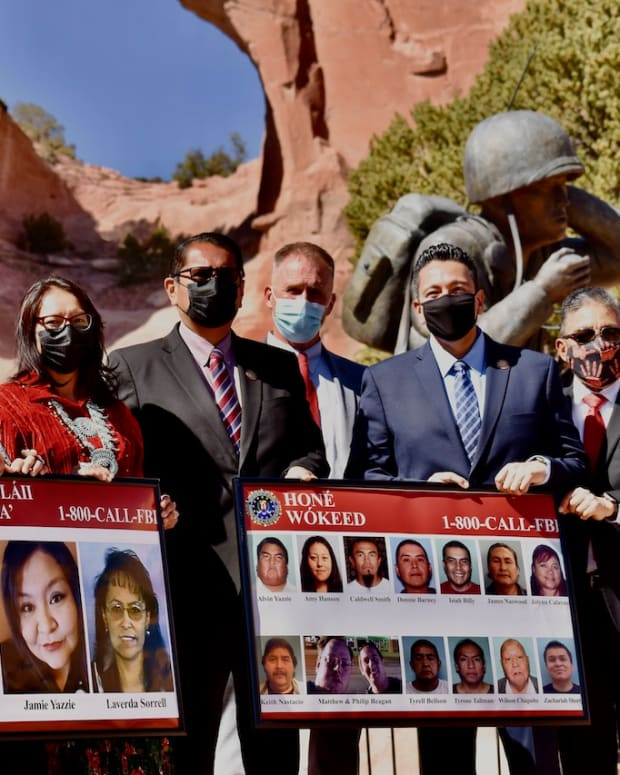 "Pictured: Navajo leaders join FBI officials to recognize ""Navajo Nation Missing and Murdered Indigenous Peoples Awareness Day"" at Navajo Veterans Memorial Park in Window Rock, Arizona on May 5, 2021."