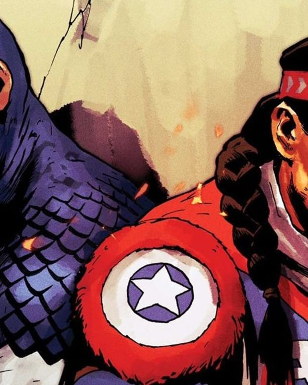 Captain America and Kickapoo grass dancer Joe Gomez in Marvel (Marvel.com)