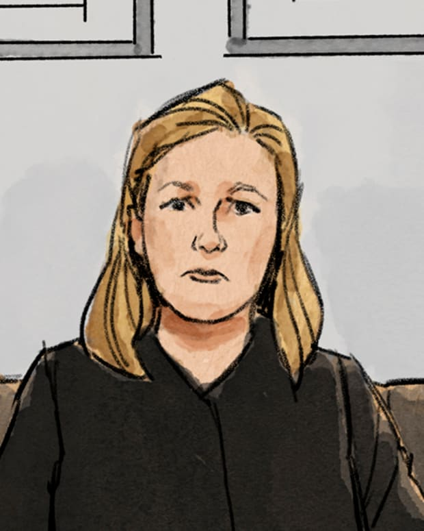 In this courtroom sketch, former Brooklyn Center police Officer Kim Potter is shown during a preliminary hearing, Monday, May 17, 2021, in Brooklyn Center, Minn. A December trial date has been set for Potter, who has been charged with second-degree manslaughter in Daunte Wright's shooting death. (Cedric Hohnstadt via AP)