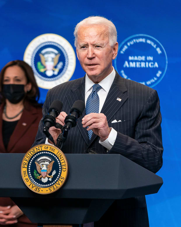 """President Joe Biden, joined by Vice President Kamala Harris, delivers remarks on his """"Buy American"""" initiative Monday, Jan. 25, 2021, in the South Court Auditorium of the Eisenhower Executive Office Building at the White House. (Official White House Photo by Adam Schultz"""