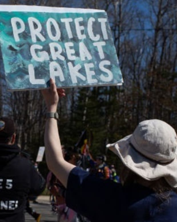 Water protectors in Mackinaw City, Michigan march against Enbridge's Line 5 on May 13, 2021. (Photo courtesy of Beth Price)