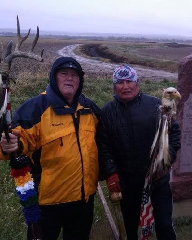 Paul Stover Soderman, left, and Phil Little Thunder participate in a prayer walk at the site of the 1854 Grattan Massacre, the opening engagement of the First Sioux War that precipitated a retaliatory attack upon a Lakota encampment by Soderman's relative, Gen. William S. Harney. Soderman is working to remove Harney's name from a waterway in Washington state. (Photo courtesy of Paul Stover Soderman)