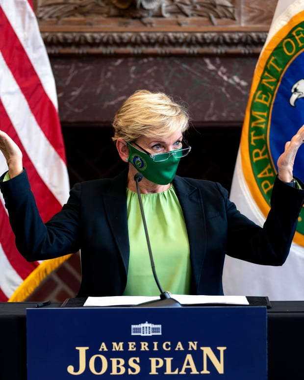 FILE - In this May 3, 2021, file photo Energy Secretary Jennifer Granholm speaks during a roundtable discussion at Howard University in Washington. (Stefani Reynolds/Pool via AP, File)