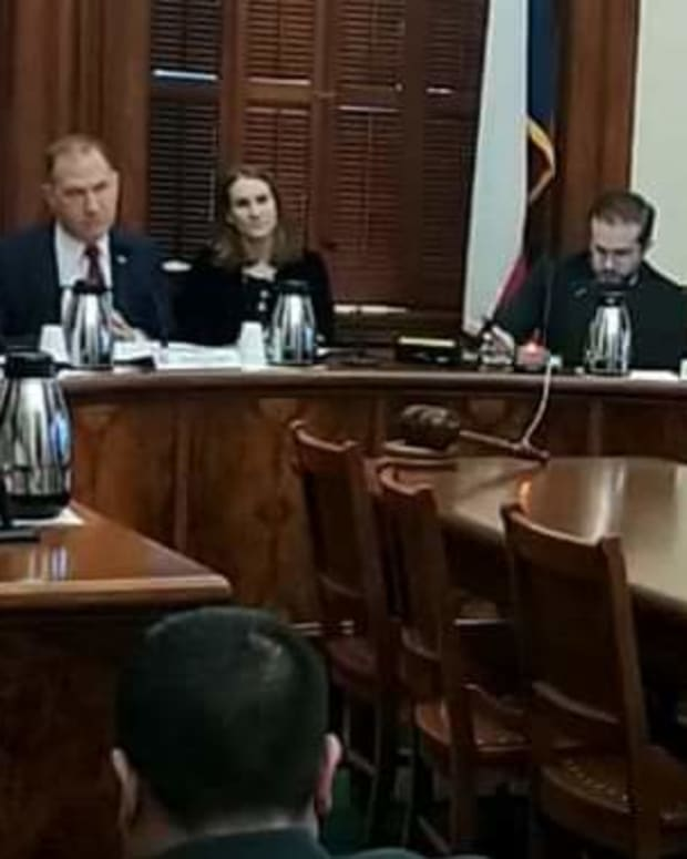 Pictured: Samantha Longfeather-Locke, of the Standing Rock Sioux Tribe, speaks in a committee hearing in the Texas Senate in favor of Indigenous People's Day and Indigenous People's Week in Texas. She opened with a greeting in her Lakota language, which may be the first time that a native language has ever been spoken in the Capitol building.