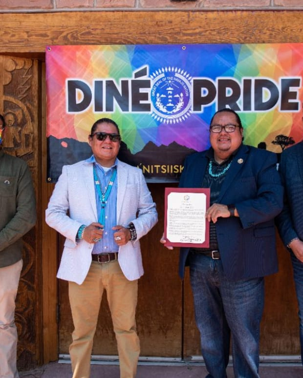Pictured: Raphael Begay, Delegate Nathaniel Brown, Speaker Seth Damon, and Diné Pride Executive Director, Alray Nelson, pose for photo after proclamation signing.