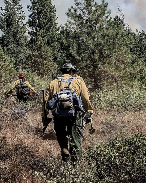 Pictured: A Native wildland firefighter.
