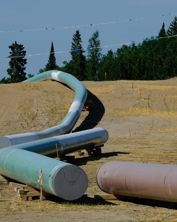 Pipes await installation along Enbridge Line 3's route near Park Rapids, Minnesota, on June 6, 2021. (Photo by Mary Annette Pember/Indian Country Today)