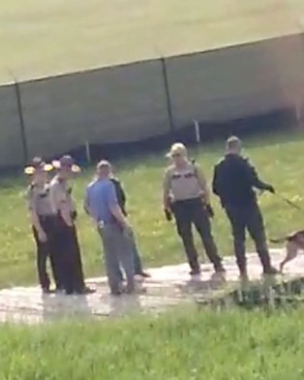 Pictured: Pennington County police bring attack dogs to Red Lake Treaty Camp.