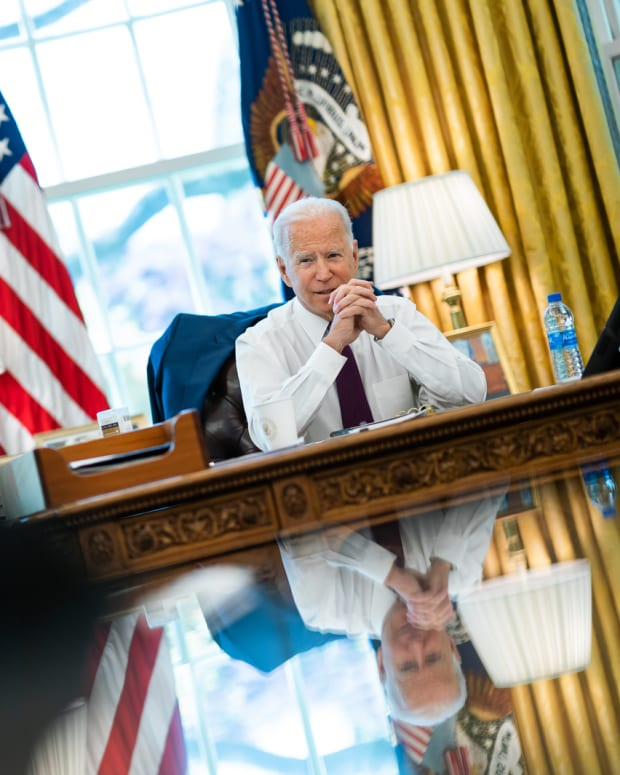 President Joe Biden meets with White House staff in the Oval Office of the White House Tuesday, April 27, 2021, to prepare for an off the record discussion with news anchors. (Official White House Photo of by Adam Schultz)