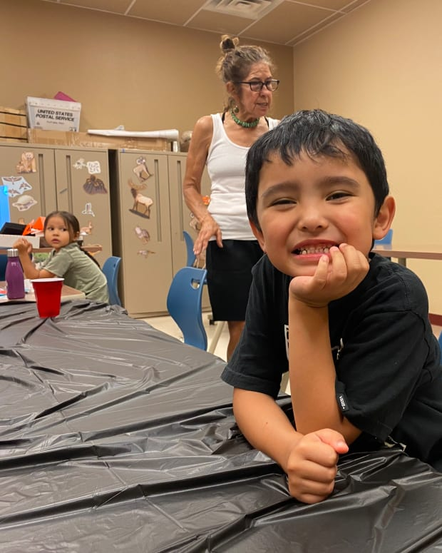 """Jackson, 5, poses for a photo at the """"traditional teachings"""" summer camp hosted by the Indian Pueblo Cultural Center in New Mexico. (Photo by Aliyah Chavez, ICT)"""