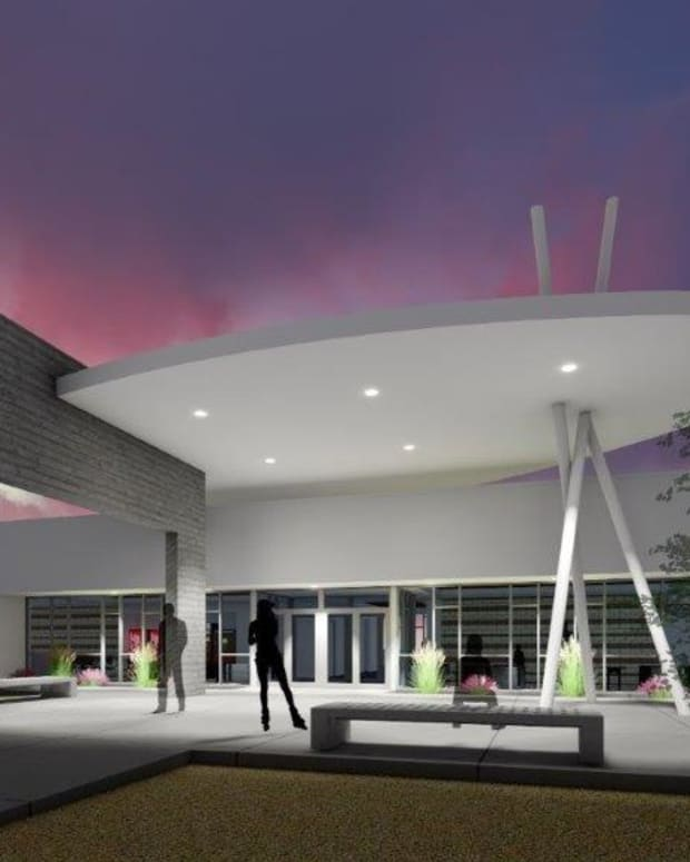 Pictured: An architect's rendering of the Diné College Math and Science building in Shiprock, New Mexico.