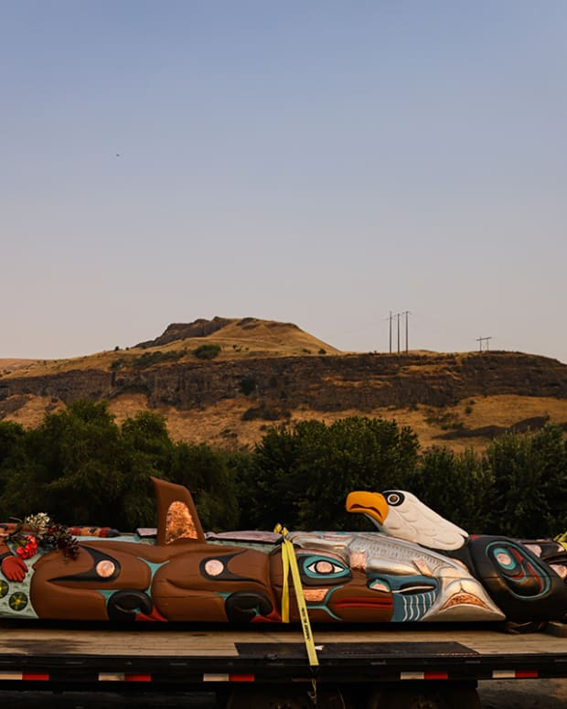 Pictured: House of Tears Carvers totem pole at the Snake River.