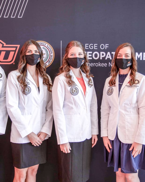 Pictured: Cherokee Nation student doctors who recently received their white coats from the Oklahoma State University College of Osteopathic Medicine at Cherokee Nation include (L-R) Alex Cosby, Breanna Sharp, Megan Tramel, Katherine Cox, and Chet Rotton.
