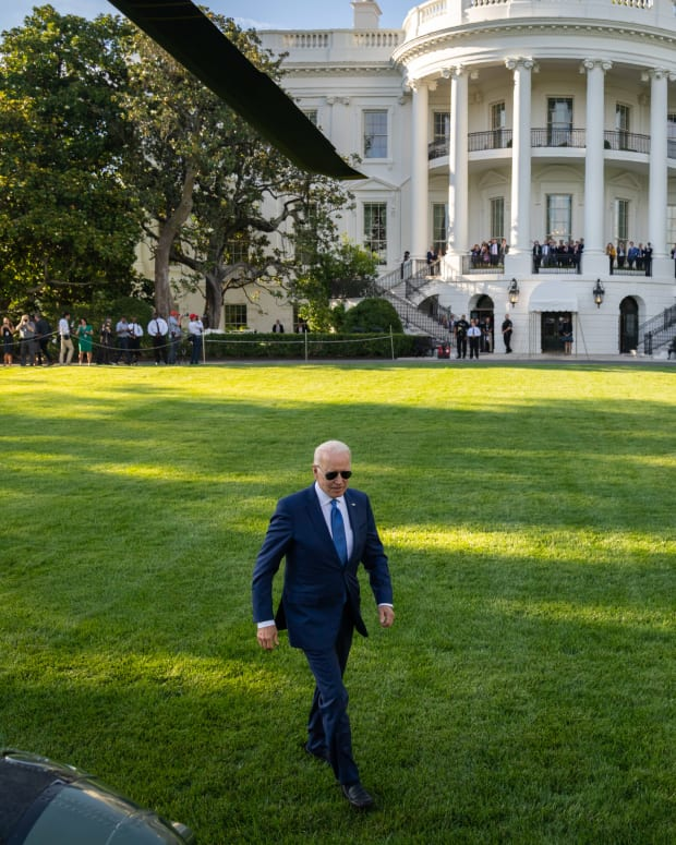 President Joe Biden prepares to board Marine One on the South Lawn of the White House, Friday, June 25, 2021, en route to Camp David in Thurmont, Maryland. (Official White House Photo by Adam Schultz)