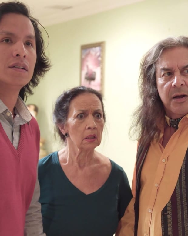 """The film, """"A Christmas In Ochopee,"""" written and directed by Montana Cypress and released in 2019, features Cypress, left, in a lead role, along withactors Lavonne Andrews and Andrew Roa. (Photo courtesy of Montana Cypress)"""