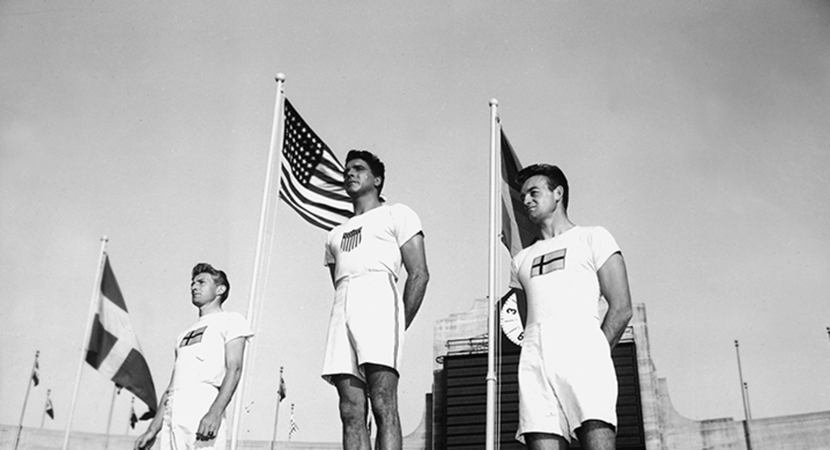 Photo from 1951 movie about Jim Thorpe, with Burt Lancaster, center, playing Thorpe.