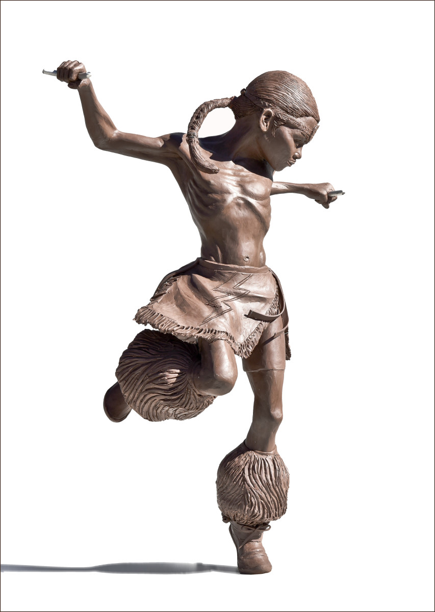 Working from an enlarged photograph captured in a feeling moment, former Governor George Rivera has completed a clay sculpture that depicts his son hoop dancing. Courtesy Photo by Phillip Karshis