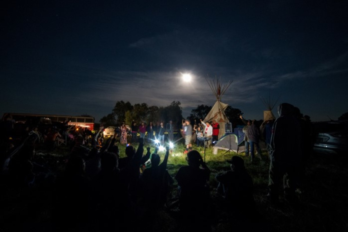 Red Warrior Camp hosted a concert under a full moon in August at Standing Rock. Photo-Alex Hamer