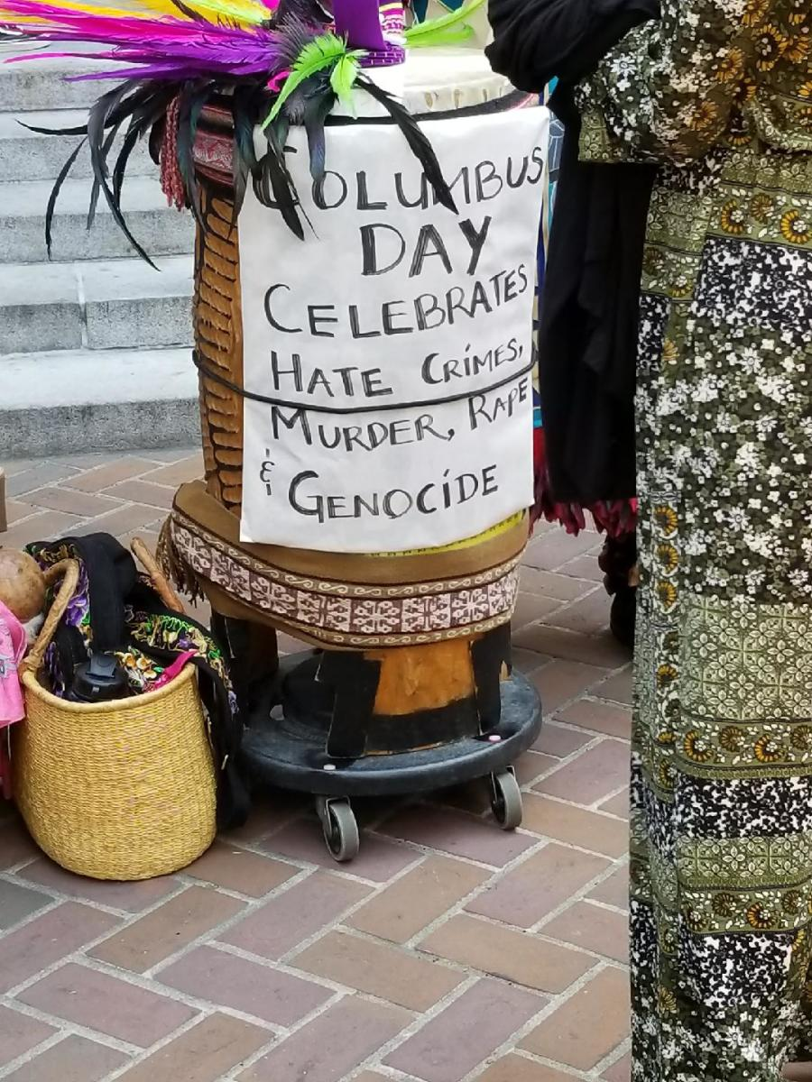 Following a near unanimous vote by the L.A. City Council, Columbus Day is no more in the city, but it remains a federally-recognized holiday. Above, a sign condemning the acts of Columbus.