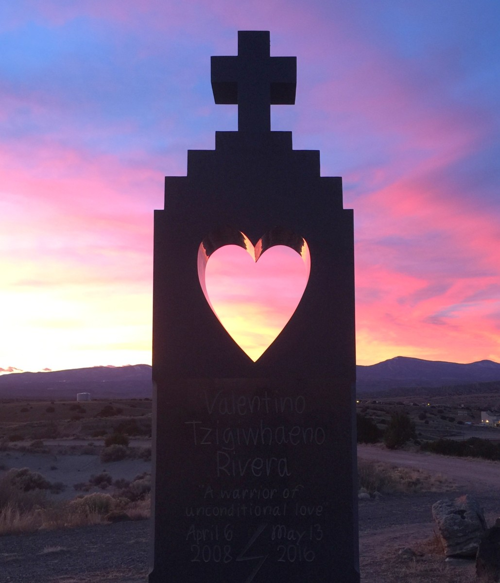 View of the granite monument, created by George Rivera in honor of his son Valentino. Courtesy Rivera family
