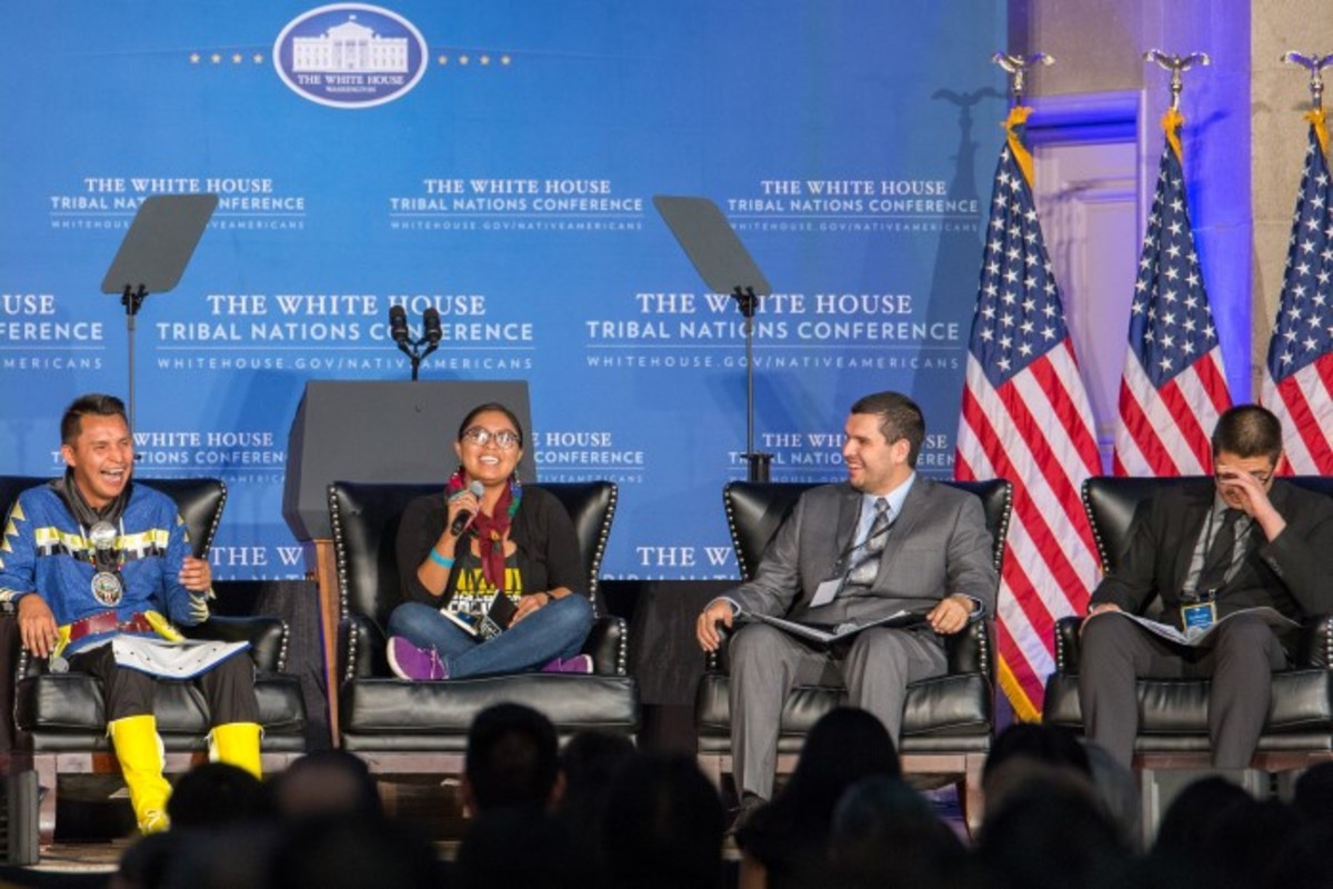 Keioshiah Peters speaks at the White House Tribal Nations Conference as a member of the youth leadership panel. Photo-Alex Hamer