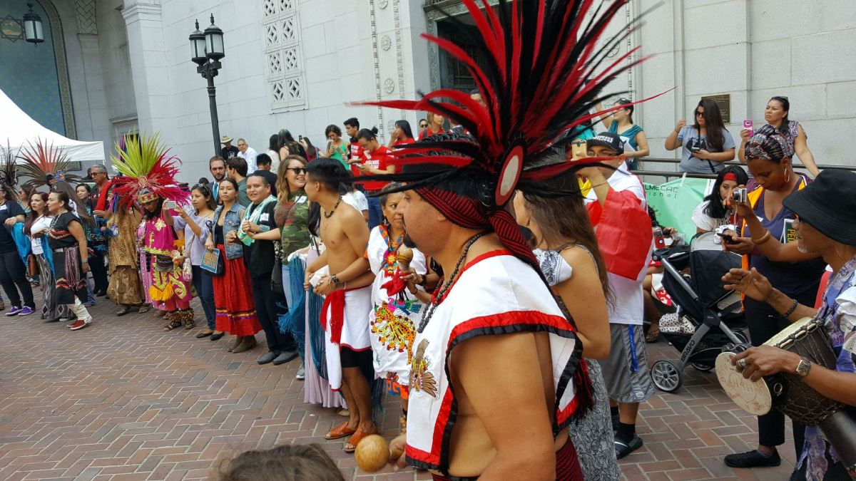 Indigenous people and allies gathered at City Hall in Los Angeles on August 30 in support of Indigenous Peoples Day, which will now replace Columbus Day following a 14-1 vote.