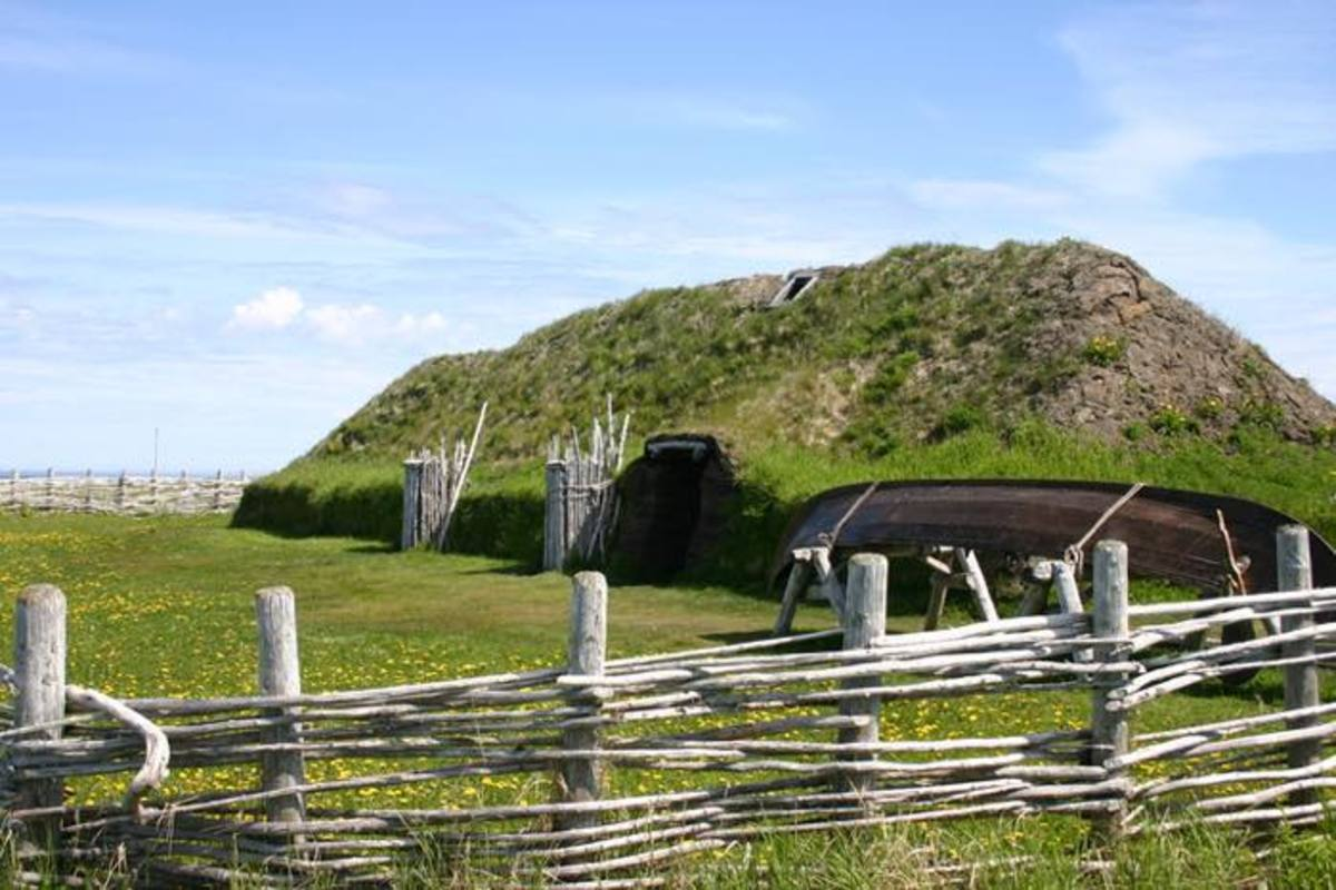 A sod hut at L'Anse aux Meadows National Historic Site in Newfoundland. This historic site is where archaeology destroyed the myth of Christopher Columbus.
